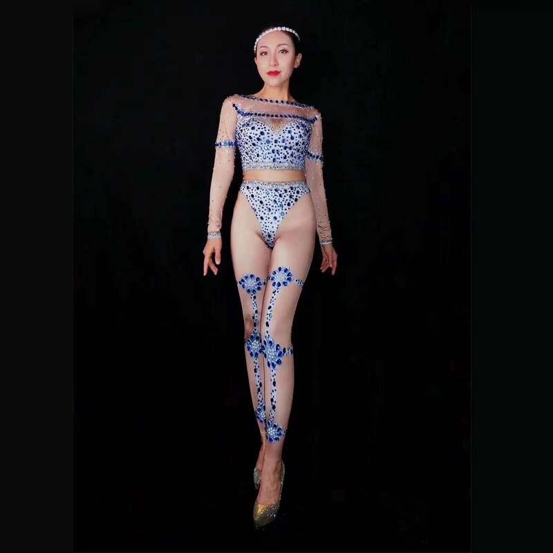 Combinaison bleu strass body Stretch discothèque femme danse Costume chanteur spectacle justaucorps femmes bal de promo Sexy nue tenue