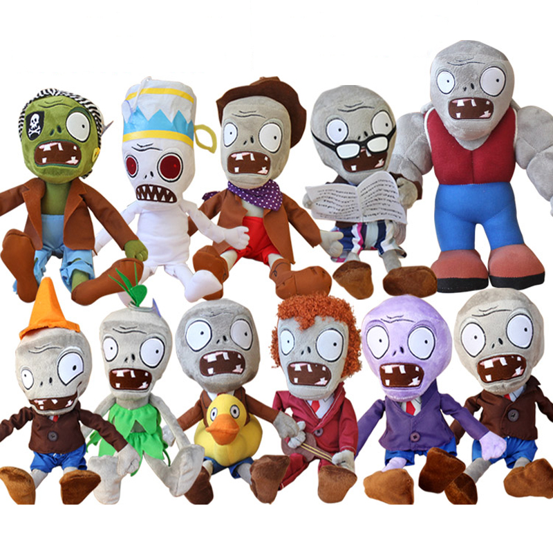 11pcs/lot 30cm Plants vs Zombies 2 Zombies Plush Toys PVZ Soft Stuffed Toys Doll Game Figure Statue Toys for Kids Christmas Gift 50pcs lot plants vs zombies pvz figure toys 3 8cm full set plants zombies pvc action figure collection model toy gift for kids