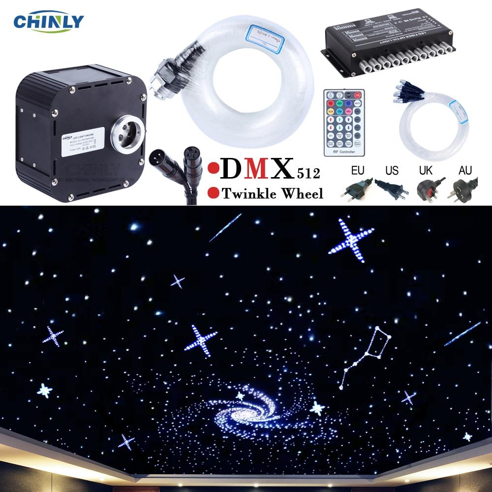 50 Вт DMX512 поддерживается мерцание RGBW волоконно-оптические огни комплект потолок Метеор звездное небо эффект 835 до 400 стенды 4-5 м оптический ка...