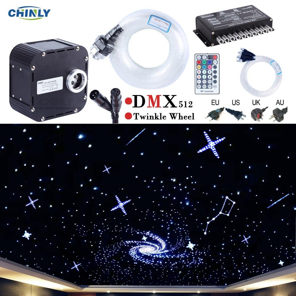 50 w DMX512 Soutenu Twinkle RGBW Feux De Fiber Optique Kit Plafond Meteor Étoilée Ciel Effet 400 à 835 stands 4 -5 m Optique Câble