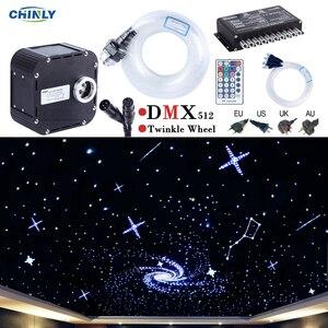Image 1 - 50 w dmx512 지원 반짝임 rgbw 광섬유 조명 키트 천장 유성 별이 빛나는 하늘 효과 400 ~ 835 스탠드 4 5m 광 케이블