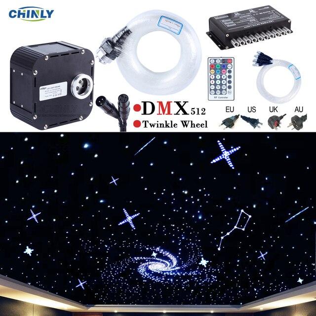 50 w dmx512 지원 반짝임 rgbw 광섬유 조명 키트 천장 유성 별이 빛나는 하늘 효과 400 ~ 835 스탠드 4 5m 광 케이블