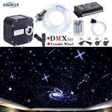 50W DMX512 נתמך נצנץ RGBW סיבים אופטי אורות ערכת תקרת מטאור שמי זרועי הכוכבים אפקט 400 כדי 835 עומד 4  5m אופטי כבל