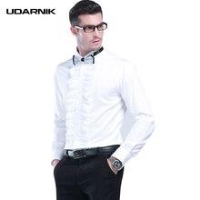 男性タキシードシャツ白襟イブニングパーティー固体フリルフロントスリムフォーマル服ストリート夏のファッション 903 A148