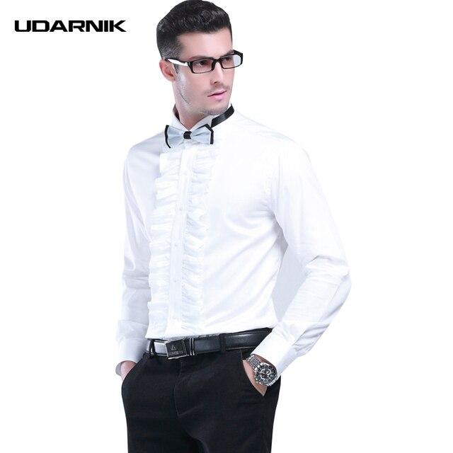 Homens Smoking Camisas de Colarinho Quadrado Branco Festa À Noite Plissado Sólida Frente Fino Roupa Formal Streetwear Moda Verão 903-A148