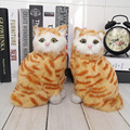 Желтый кот животных игрушки кошки meowth детские pet cat плюшевые игрушки модель украшения подарок на день рождения Электронные Домашние Животные куклы подарки