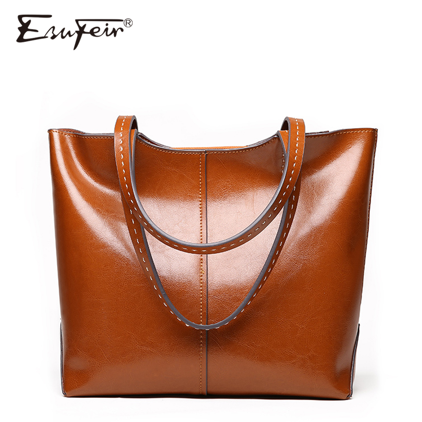 ESUFEIR Brand 2018 Fashion Women Handbag Genuine Leather Women Bag Soft Oil Wax Leather Shoulder Bag Large Capacity Casual Tote 2017 esufeir brand genuine leather women handbag fashion shoulder bag solid cowhide composite bag large capacity casual tote bag
