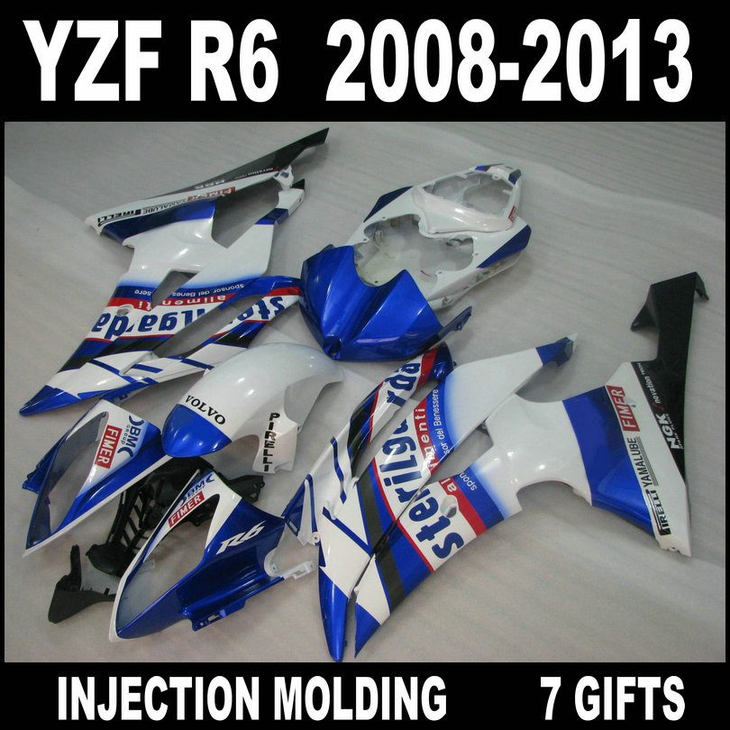 ABS plastic motorcycle parts for <font><b>YZF</b></font> <font><b>R6</b></font> 08 09 10 11 12 13 white blue black <font><b>fairings</b></font> YAMAHA <font><b>R6</b></font> <font><b>2008</b></font> 2009 - 2013 <font><b>fairing</b></font> <font><b>set</b></font> SU75 image
