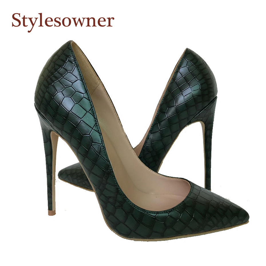 Stylesowner 2018 New Arrival Women Shoes Dark Green Stone Pattern Leather  Shallow Mouth 12cm 10cm 8db09257a4d1