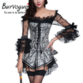 Burvogue Corset Lace Mulheres Vestido Set Plus Size Corselet Agrião Push up Sexy Corselet Gótico do Espartilho e Bustiers