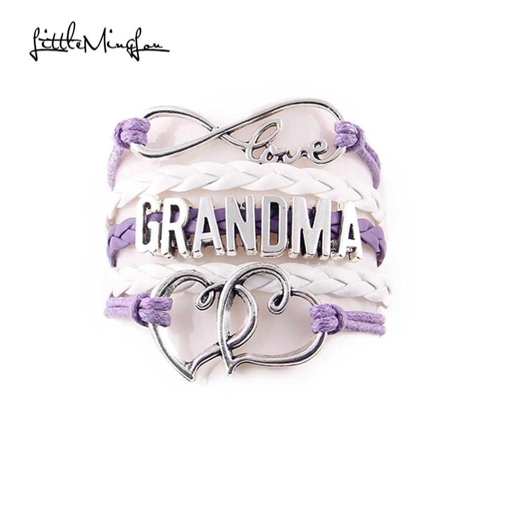 Little MingLou Infinity Liebe Oma Armband Herz Füße Charme Armband für Frauen Wickelgeflecht Leder Armbänder & Armreifen Schmuck