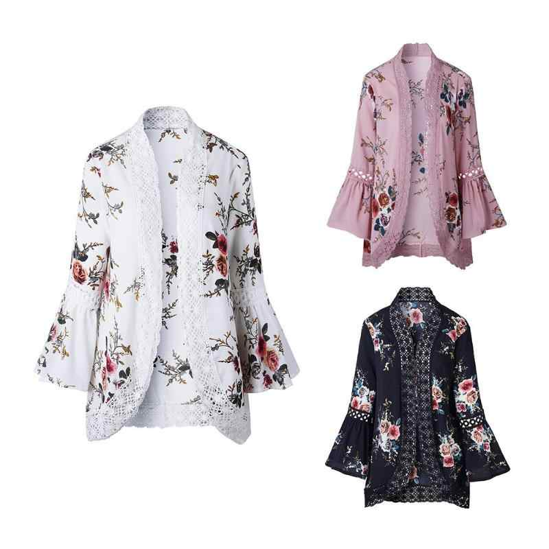 Пикантные летние Для женщин с кружевом и широкими рукавами; кардиган с цветочным принтом элегантные открытые свитера пальто Топы накидка в стиле пэтчворк пляжная одежда