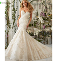 Don's Bridal Luxury Bride Gown Beaded Crystal Tulle Lace Appliques Sexy Mermaid Wedding Dress 2016