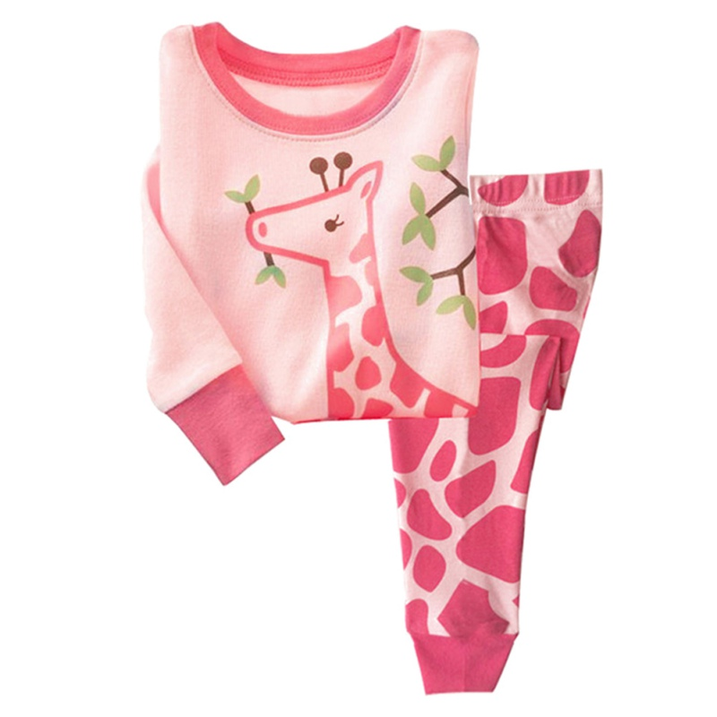Baby Boys Girls Cartoon Pajamas Set Nightwear Captain Giraffe Print Pyjamas Long Sleeve T shirt + Pants Kids Sleepwear 2016 christmas suit 0 3y newborn toddler kids girls boys reindeer homewear nightwear sleepwear pajamas set 2pcs