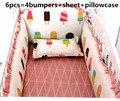 Promoção! 6 pcs conjunto fundamento Do Bebê berço berço cama set animal dos desenhos animados do bebê crib set, (amortecedores + folha + fronha)