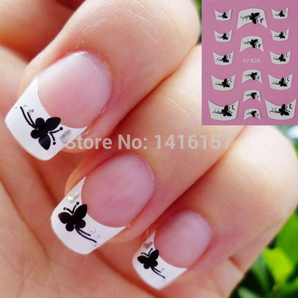 Min Order Is 10 Mix Nail Art Stickers Decal White French Tips