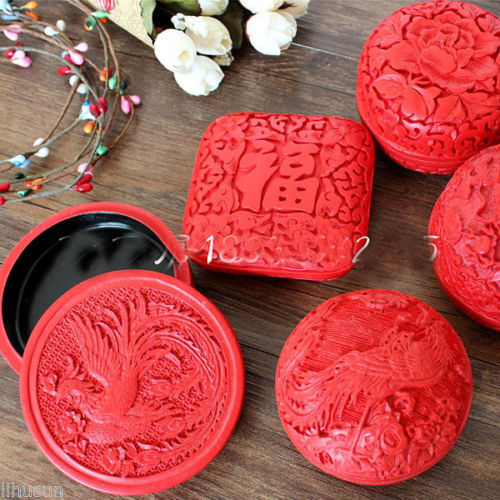 Wholesale 5Pcs Chinese Handmade Vintage Red Carved Lacquerware Jewelry Gift Boxes