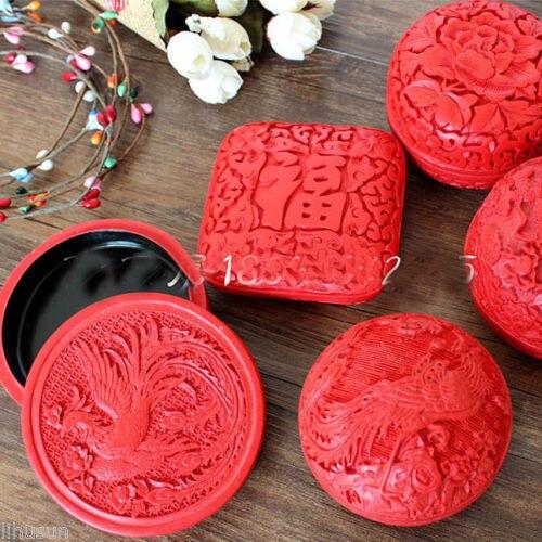 En gros 5 pièces chinois fait à la main Vintage rouge sculpté laque bijoux et coffrets cadeaux-in Boîtes et vitrines à bijoux from Bijoux et Accessoires    1