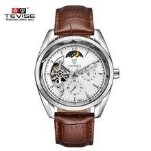TEVISE marca Original Reloj de Los Hombres Reloj Mecánico Automático Impermeable de Lujo Del Reloj de Cuero Relojes de Pulsera Relogio masculino