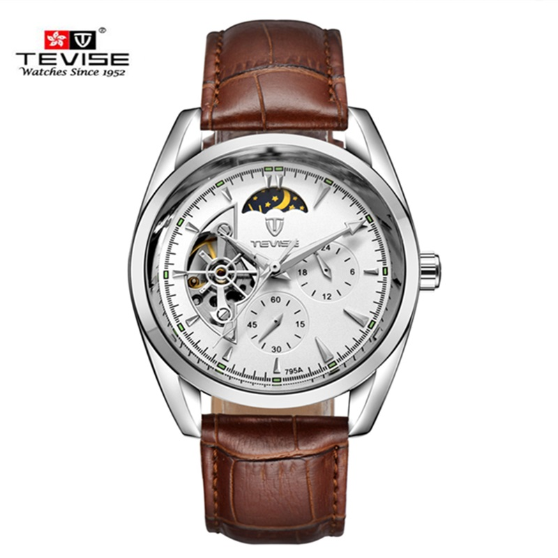 Men Watches Waterproof Automatic Mechanical Watch Luxury Brand TEVISE Leather Strap Watch relogio masculino automatic male clock tevise fashion sport automatic mechanical watch men top brand luxury male clock wrist watches for men relogio masculino t629b
