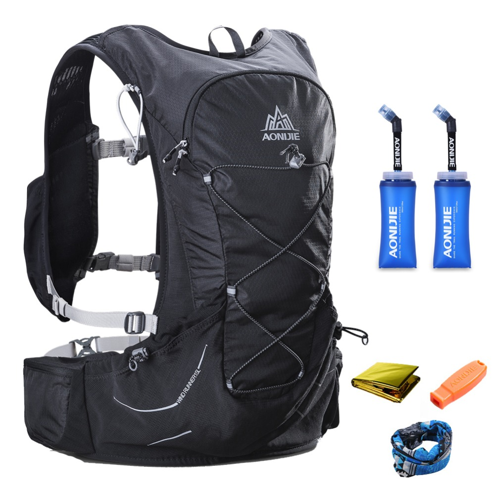 15L AONIJIE Men Women Hydration Backpack Outdoor Running Trail Racing Hiking Marathon Fitness Pack Rucksack Two 350ML Soft Flask