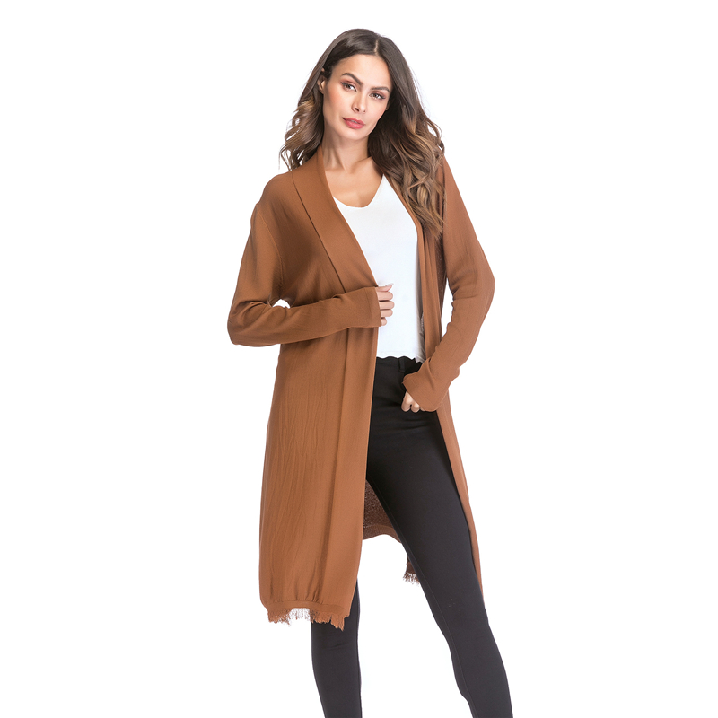Kostlich 2018 Women Solid Color Tassel Long Knitted Cardigans Casual Open Stitch V Neck Full Sleeves Cardigans M-XL (4)