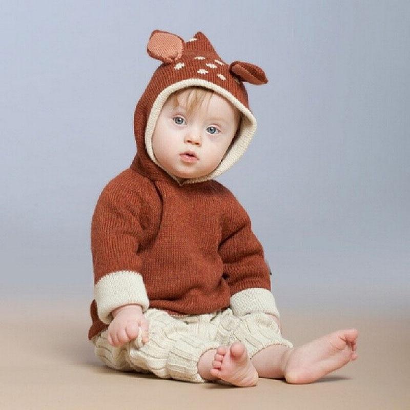Szép baba szarvas fülek pulóverek gyerekek állat stílus fehér - Gyermekruházat