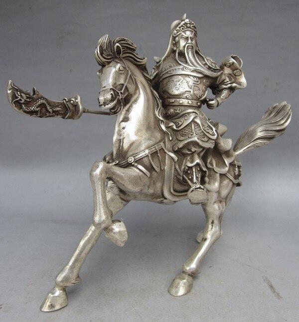 Ambachten Kunsten Collectable Tibet Zilver Warrior God Guan Yu Standbeeld Ujh5uy Koperen Gereedschappen Bruiloft Decoratie Messing Kan Herhaaldelijk Worden Omgedraaid.