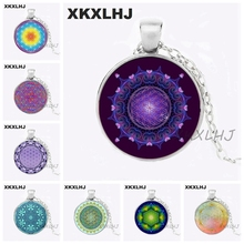XKXLHJ Flower of Life Necklace Flower of Life Pendant Mandala Jewelry Glass Dome Pendant Necklace luminous glass flower pendant necklace