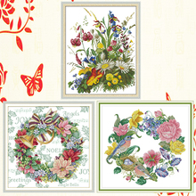 Joy Sunday,Flowers,cross stitch embroidery set,printing cloth embroidery kit,needlework,DIY Flowers cross stitch embroidery kit joy sunday magnolia flower cross stitch embroidery set printing cloth embroidery kit needlework flowers picture cross stitch kit