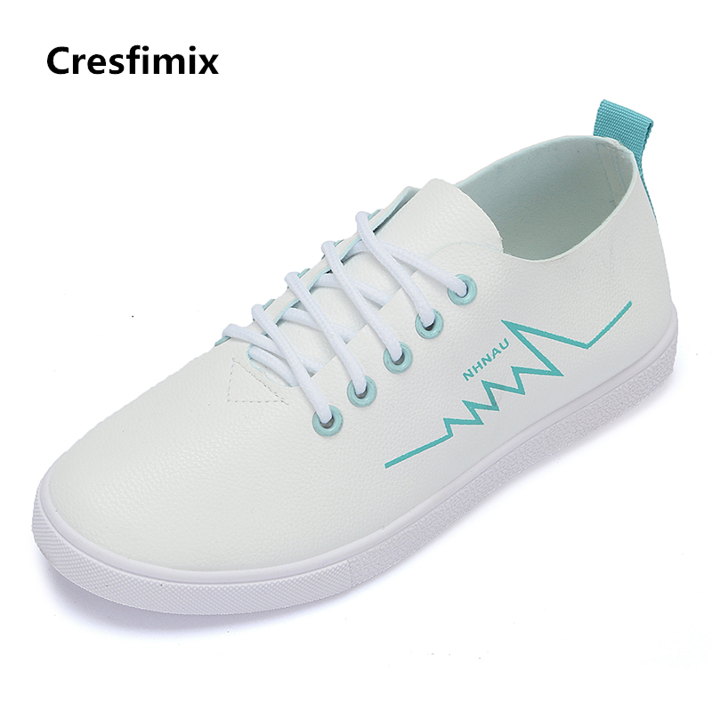 Cresfimix zapatos de mujer women casual white lace up flat shoes female leisure round toe shoes lady soft comfortable shoes cresfimix zapatos de mujer women fashion pu leather slip on flat shoes female soft and comfortable black loafers lady shoes