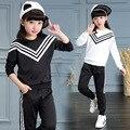 Ternos Esportes das meninas Listrado Fatos de Treino Para Meninas Conjuntos de Roupas de Manga Longa Sportswear Crianças Roupas de algodão 3 4 6 8 10 12 Anos