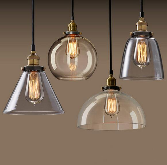 Vintage Light Edison Industrial Iron Body Glass Shade Lamp Living Dining Room pendant lights and lighting indoor lamp pendente fumat european style vintage pendant lamp dining room living room glass shade metal lamps american led metal brief pendant light