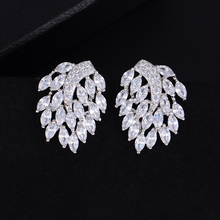 SisCathy Clear Cubic Zirconia Silver Bridal Wedding Fantastic Stud Earrings Leaves Shape Fashion Jewelry Accessories