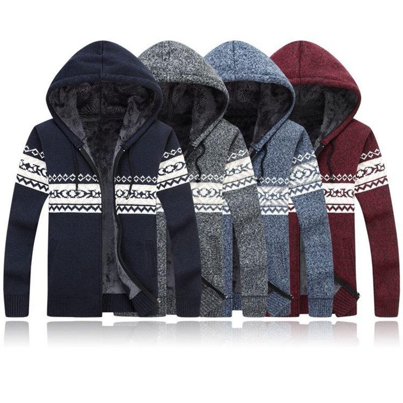 Winter Knitted Inner Fleece Sweater Plus Size 3XL Hooded Sherpa Faux Fur Inner Warm Tops Knitting Zipper Sweaters