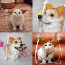 Novel Dog Hat Cap Cosplay Costume for Puppy Cats Dogs Cute Funny Chicken Leg Hair Loop Head Wear Pet Hat  Lovely Cat Toys S/M