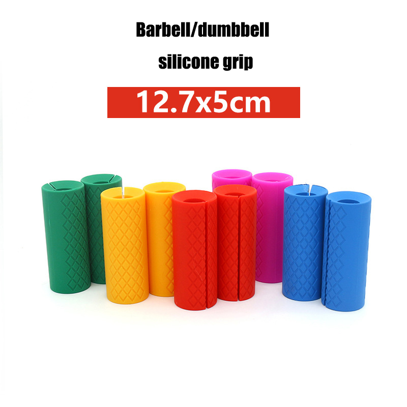 Dayup 1 Pair Silicone Barbell Grips Dumbbell Fat Grip Thick Bar Handles Pull Up Weightl Lfting Support Anti-slip Protect Pad Convenience Goods