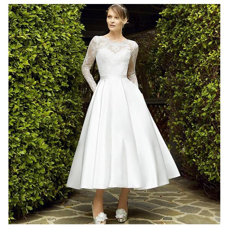 Romantic Wedding Dresses 2019: Wedding Dress 2019 Ankle Length Bridal Gown Lace Appliques