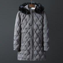 С капюшоном меховой воротник зимние куртки верхняя одежда мужская одежда длинная Стильная парка Мужская 185