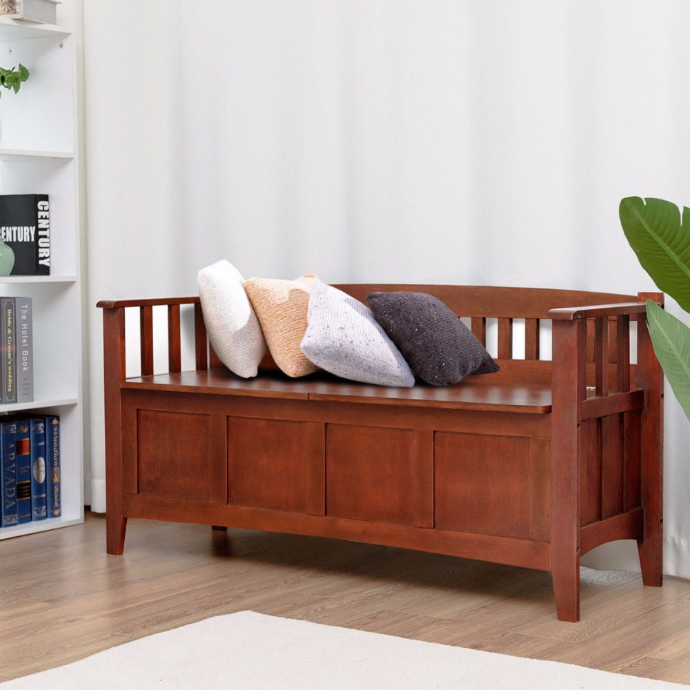 Solid Wood Bench Sofa Couch Storage Chest Furniture: Giantex Brown 32 Gallon Solid Wood Entryway Storage Bench