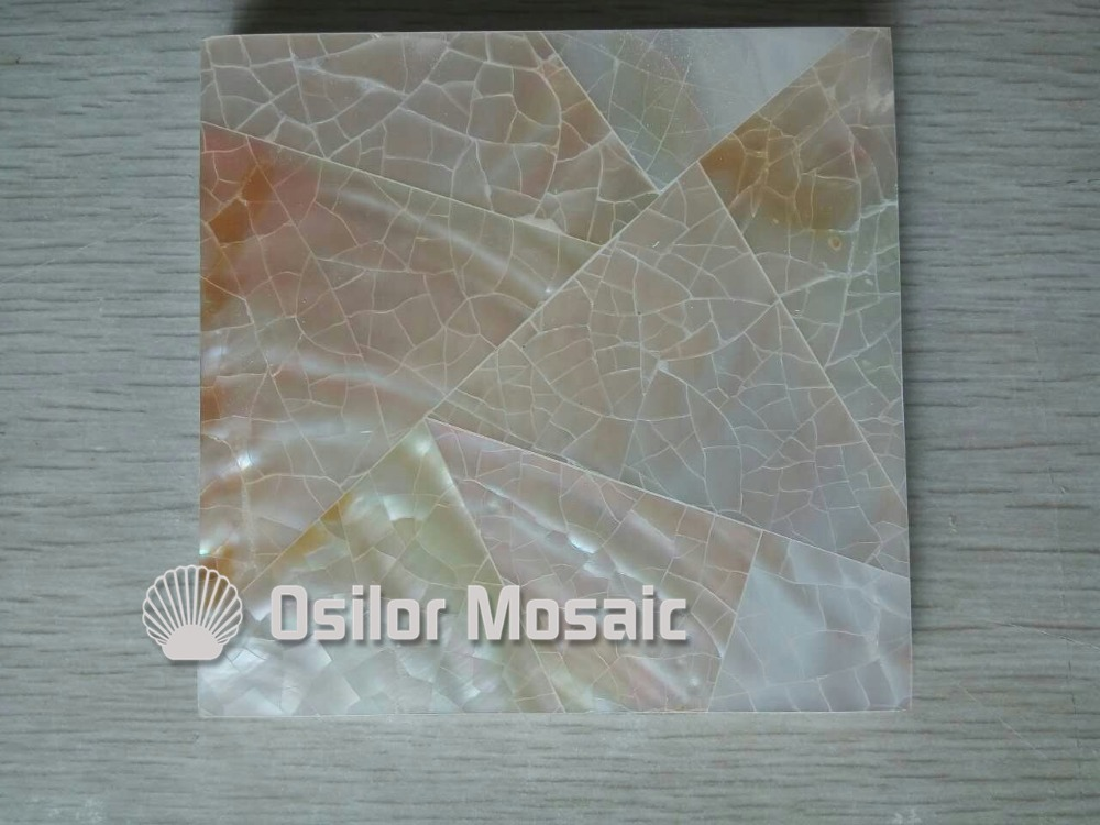 Cracked pattern 100% natural Chinese mother of pearl tile for interior house decoration polished shell tile wall tile brick pattern 100% blacklip sea shell natural black color mother of pearl mosaic tile for interior house decoration wall tiles
