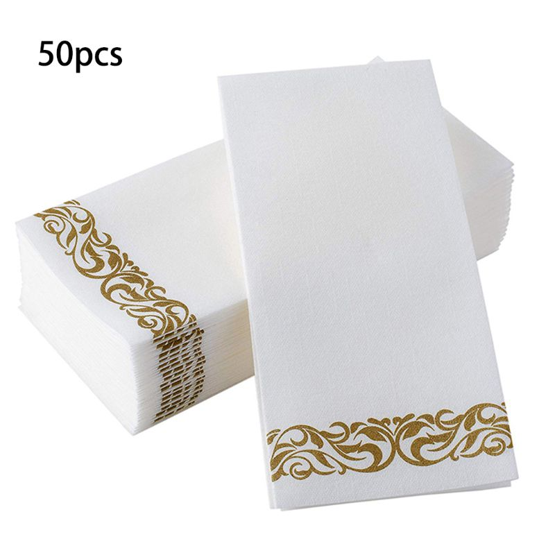 Disposable Hand Towels & Decorative Bathroom Napkins | Soft and Absorbent Linen-Feel Paper Guest Towels for Kitchen, Parties