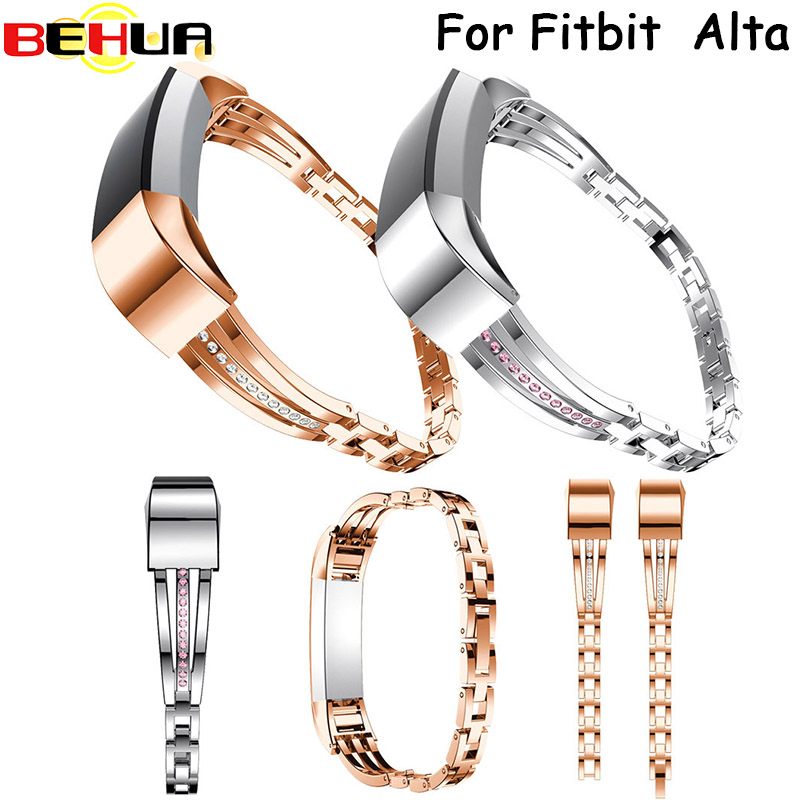 2017 New High Quality Watch band Strap NEW Rhinestone Stainless Steel Watch Bracelet Band Strap For Fitbit Alta Correas de reloj