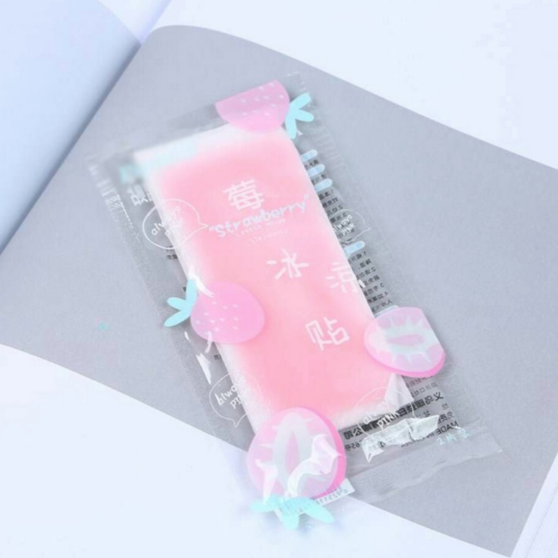 2019 Fruit Flavor Cooling Gel Patch Safe Overheating Headache for Kids Fever Migraine Relief Hot Weather Paste Pads 2pcs lot in Warm Paste Pads from Home Garden