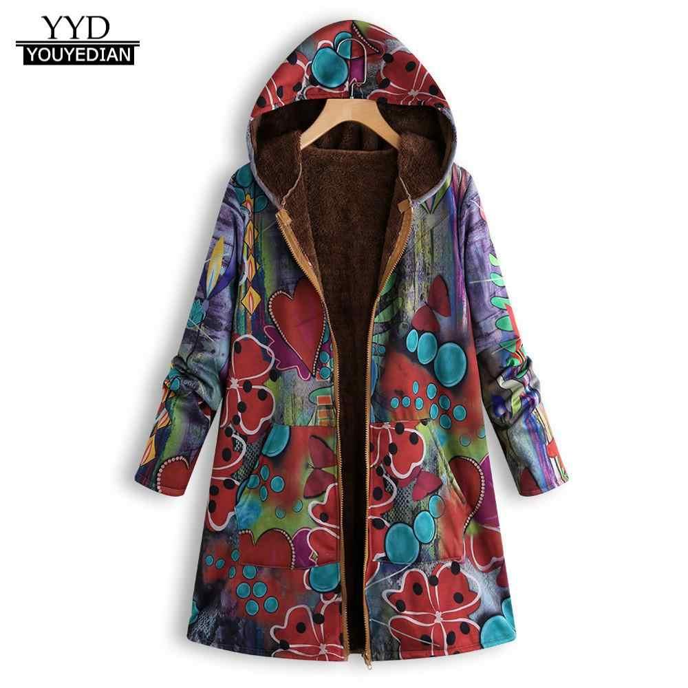 13ba33b15 Coat Womens Winter Warm Outwear Floral Print Hooded Pockets Vintage  Oversize Coats fashion women 2018 parka chaqueta mujer