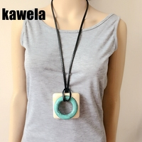 Free Shipping New Square Round Resin Fashion Pendant Black Leather Necklace