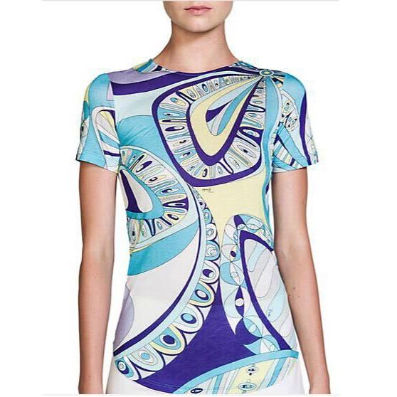 2017 женская Итальянская мода цвет соответствия эластичного трикотажного шелкового джерси топы футболки