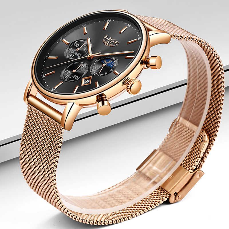 วันหยุดของขวัญนาฬิกาผู้หญิง LIGE นาฬิกาแฟชั่น Casual นาฬิกาควอตซ์ผู้หญิงนาฬิกาแบรนด์หรูนาฬิกาผู้หญิงหญิงนาฬิกานาฬิกานาฬิกาข้อมือ Relógio