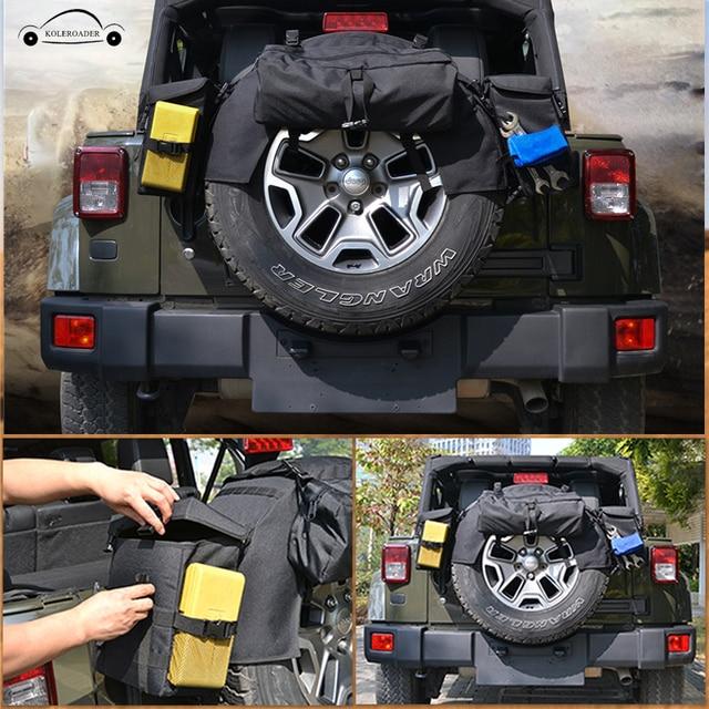 Car Spare Tire Storage Bag Tool Kit Cargo Organizer Bags Luggage Saddlebag Gadget For Jeep Wrangler JK TJ YJ SUV KOLEROADER /