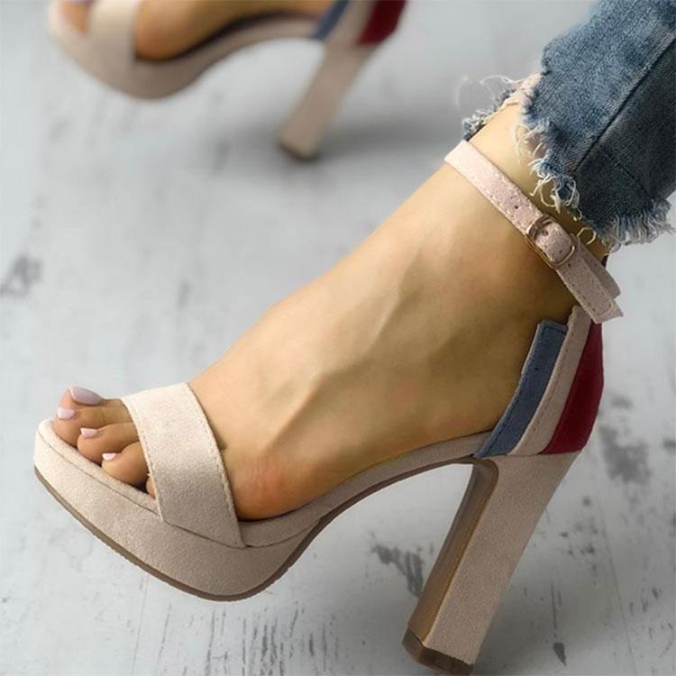 Talon carré avec plate-forme de mode chaussures d'été femme chaussures de fête en couleur mélangée couverture talon dames chaussure cheville sangle